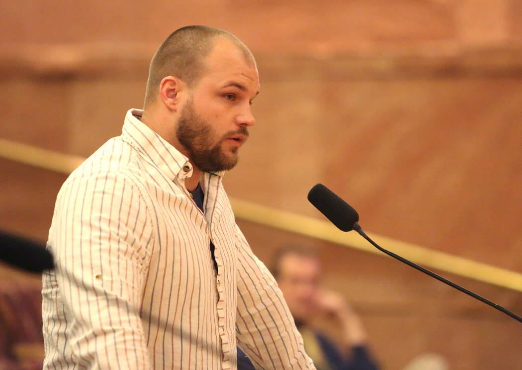 A Henderson resident, who declined to give his name, speaks before Clark County Commissioners during a commission meeting to debate whether to get rid of the Henderson and North Las Vegas constabl ...