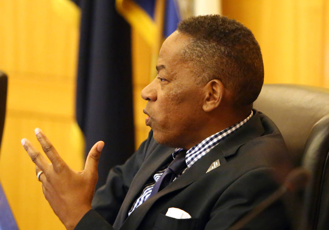 Clark County Commissioner Lawrence Weekly speaks during a commission meeting to debate whether to get rid of the Henderson and North Las Vegas constables on Tuesday, April 17, 2018, in Las Vegas. ...