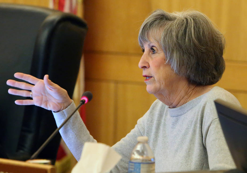 Clark County Commissioner Susan Brager speaks during a commission meeting to debate whether to get rid of the Henderson and North Las Vegas constables on Tuesday, April 17, 2018, in Las Vegas. Biz ...