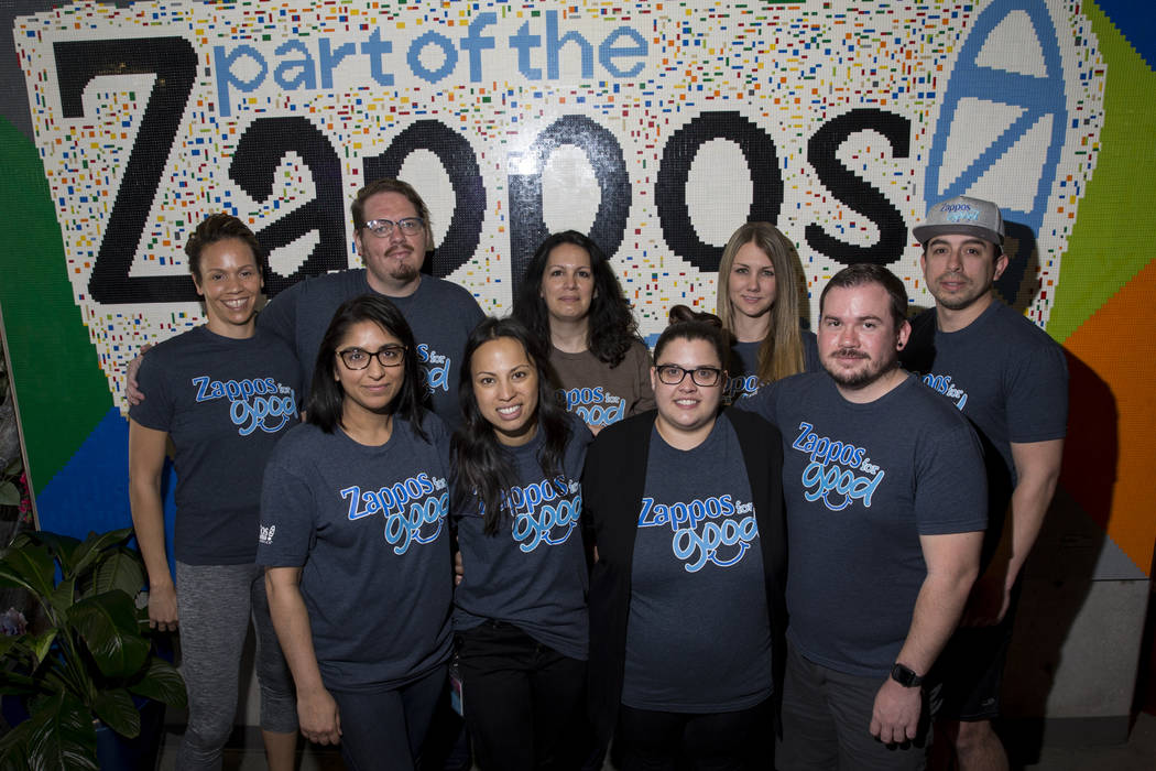Zappos employees clockwise from top left, Nicole Haliburton, Derek Noel, Kristina Broumand, Lindsey Carder, Steven Bautista, Ray Sanchez, Jill Schmidtendorff, Mikela Lee-Manaois and Bhawna Provenz ...