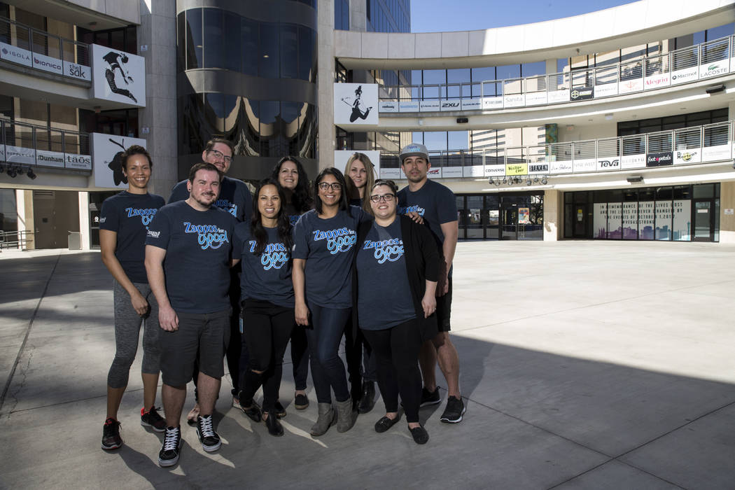 Zappos employees clockwise from top left, Nicole Haliburton, Derek Noel, Kristina Broumand, Lindsey Carder, Steven Bautista, Jill Schmidtendorff, Bhawna Provenzano, Mikela Lee-Manaois, and Ray San ...