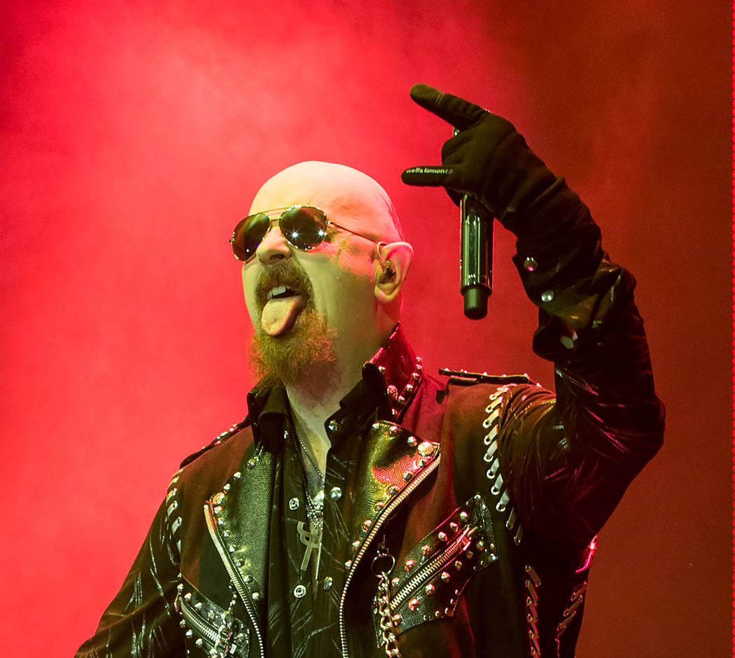 Rob Halford of Judas Priest performs on stage during Day 1 of the 2015 Knotfest USA at San Manuel Amphitheater on Saturday, Oct. 24, 2015 in San Bernardino, Calif. (Photo by Paul A. Hebert/Invisio ...