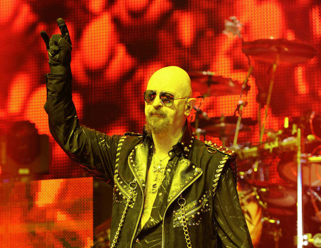 Judas Priest performs at the Vina Robles Amphitheatre on Friday, October 16, 2015 in Paso Robles, Calif. (Photo by John Pyle/Invision/AP)