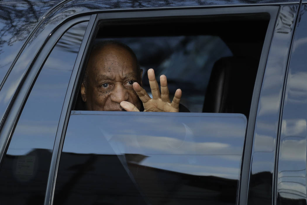 Bill Cosby waves as he departs after his sexual assault trial, Tuesday, April 10, 2018, at the Montgomery County Courthouse in Norristown, Pa. (AP Photo/Matt Slocum)