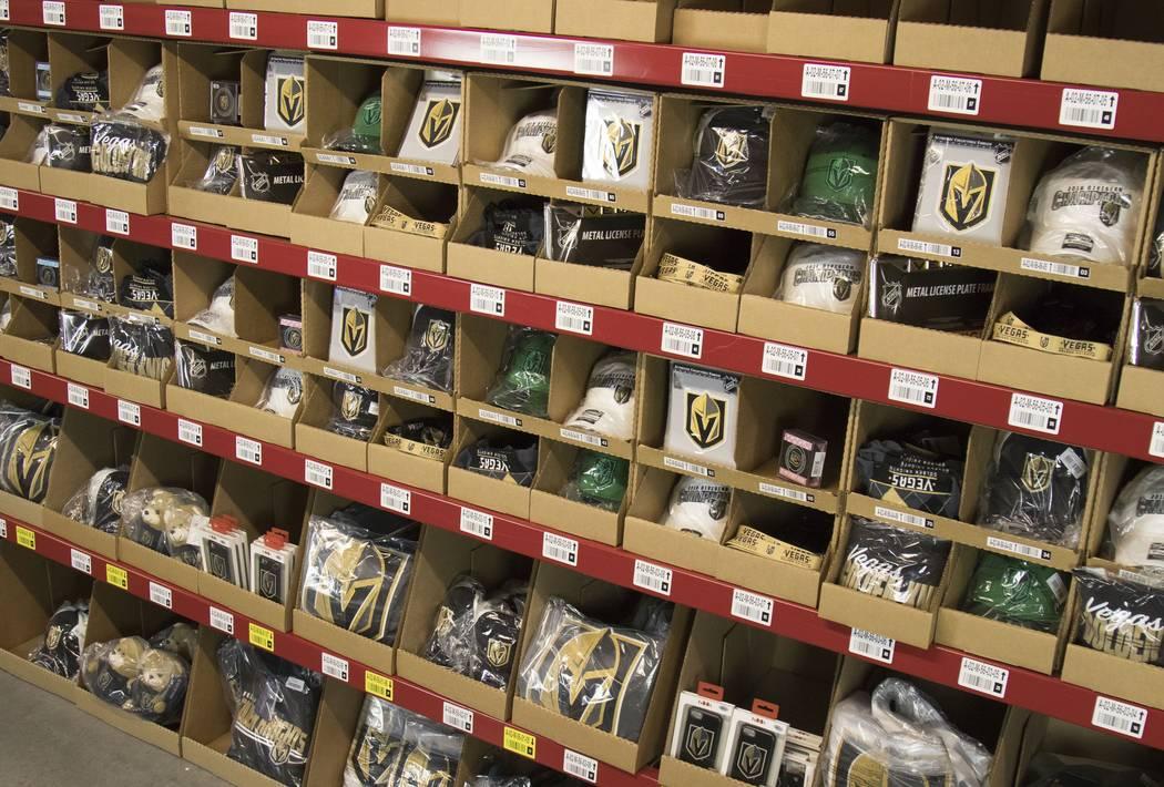 Vegas Golden Knights merchandise is seen at online retailer Fanatics' distribution center in North Las Vegas. (Fanatics)