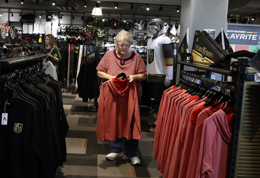 Diana Victor shops at the Vegas Golden Knights' official team store at City National Arena on Monday, April 9, 2018, in Las Vegas. Bizuayehu Tesfaye/Las Vegas Review-Journal @bizutesfaye