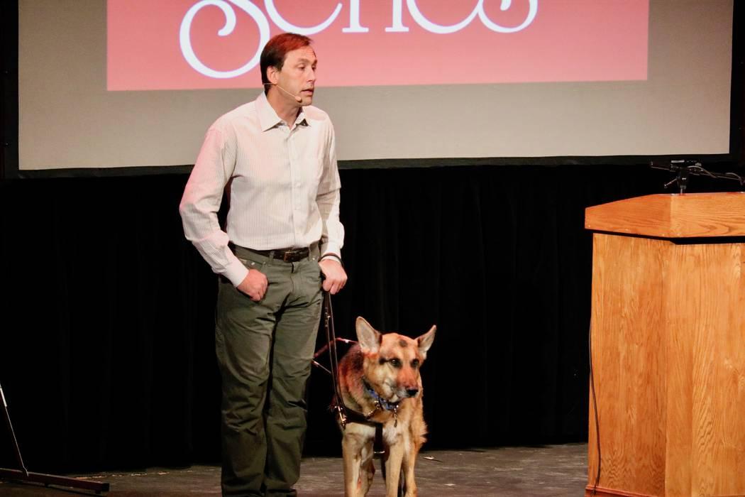 Erik Weihenmayer explains to the audience how he overcomes the barriers blindness has presented him at UNLV's Barrick Lecture at the Artemus W. Ham Concert Hall in Las Vegas on Monday, April 9. ( ...