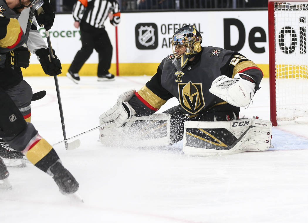 Golden Knights goaltender Marc-Andre Fleury (29) defens against the Los Angeles Kings during the second period of Game 1 of an NHL hockey first-round playoff series at T-Mobile Arena in Las Vegas  ...