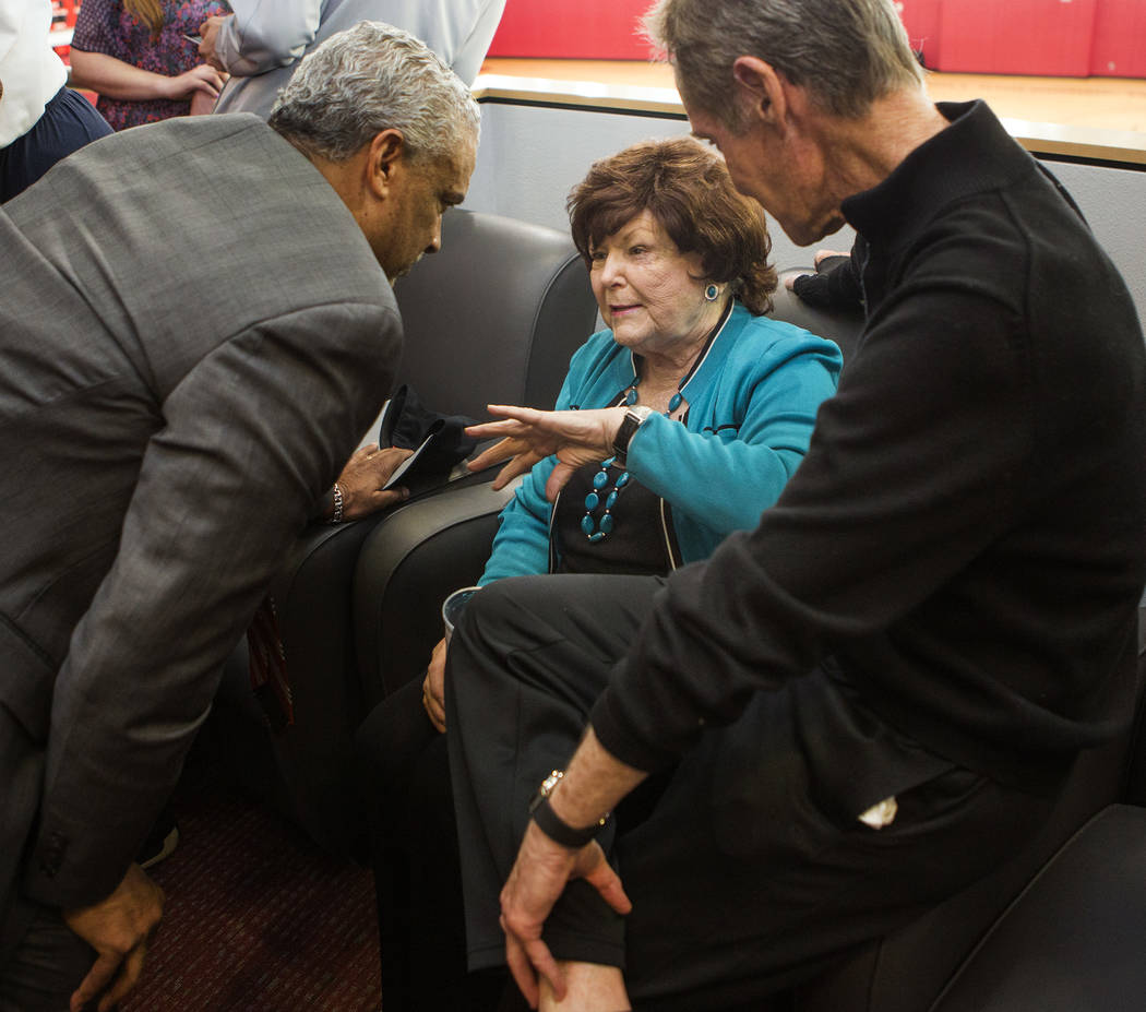 New UNLV men's basketball coach Marvin Menzies,left, talks to Lois Tarkanian, wife of former UNLV coach Jerry Tarkanian, at Mendenhall Center on Friday, April 22, 2016. Jeff Scheid/Las Vegas Revie ...