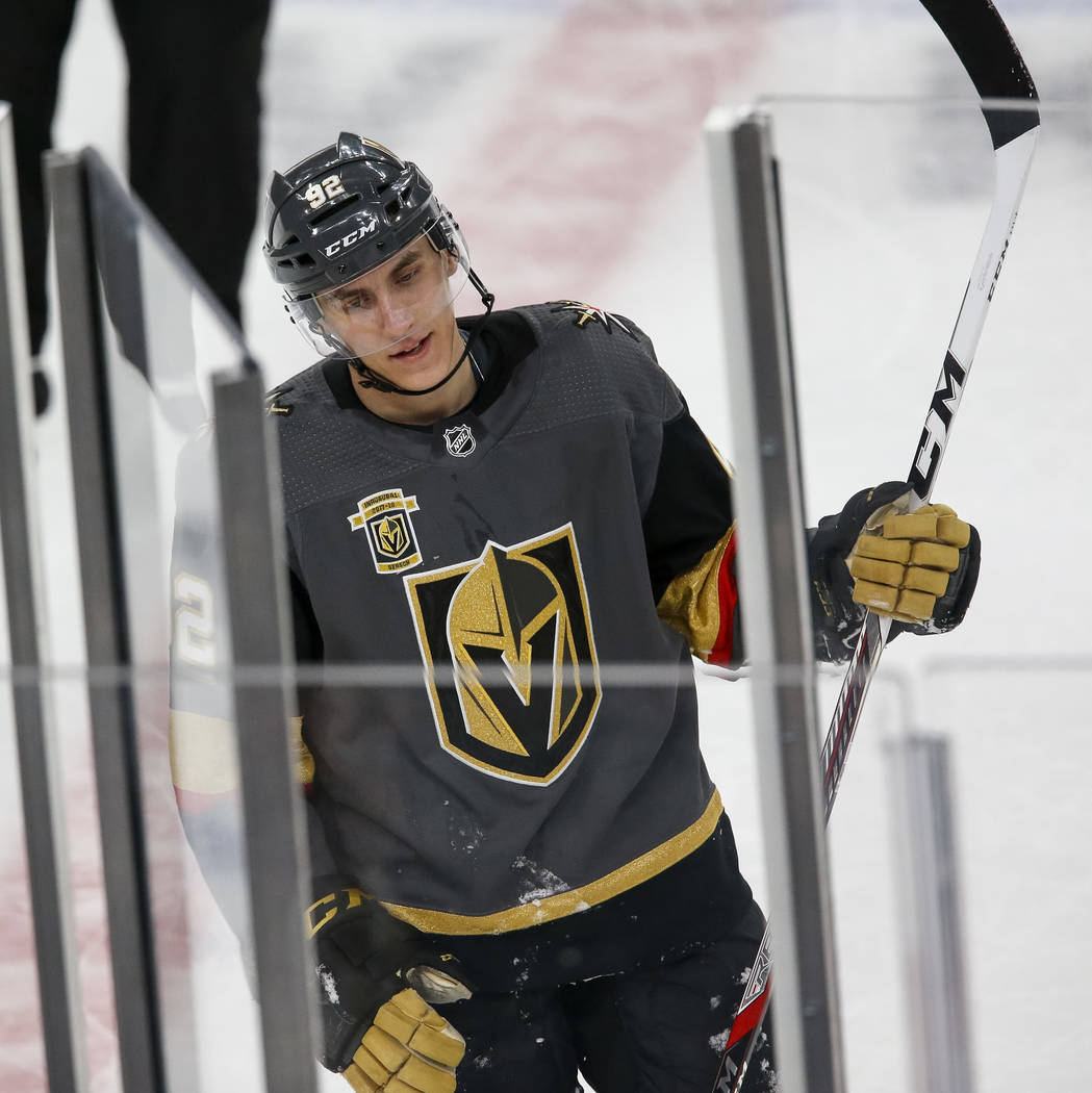 Golden Knights left wing Tomas Nosek (92) enters the penalty box during the first period of Game 1 of an NHL hockey first-round playoff series between the Golden Knights and the Los Angeles Kings  ...