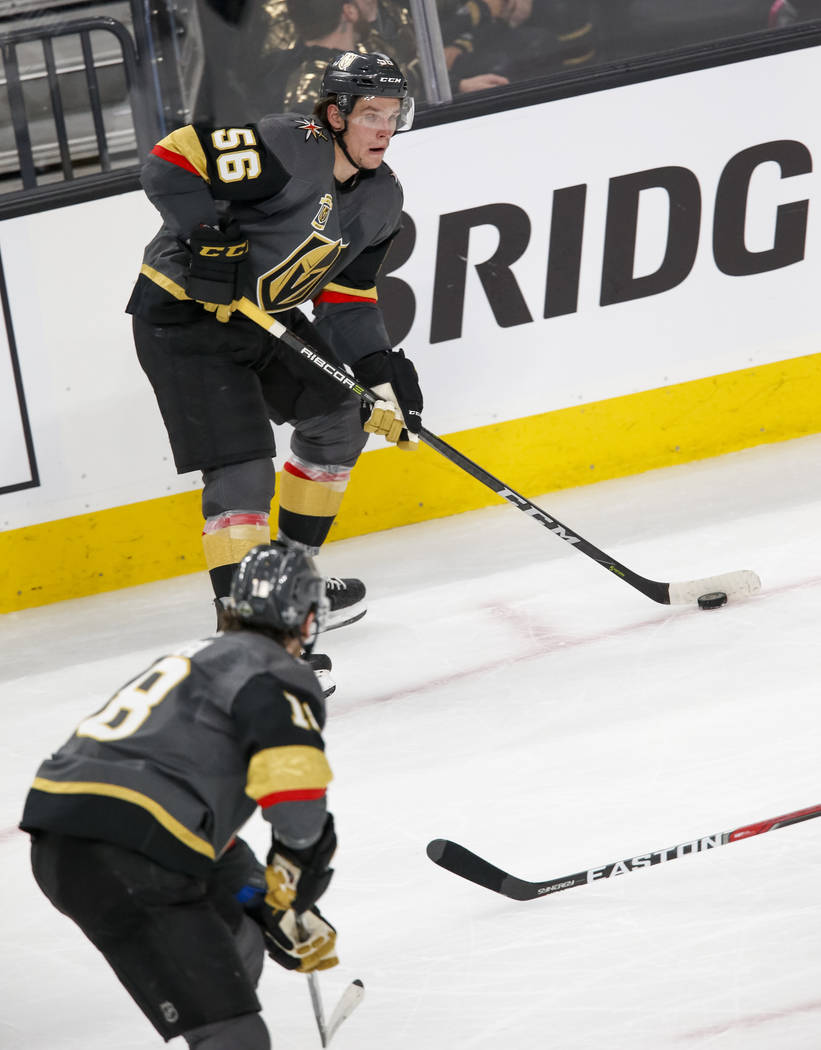 Golden Knights left wing Erik Haula (56) looks to pass during the second period of Game 1 of an NHL hockey first-round playoff series between the Golden Knights and the Los Angeles Kings at T-Mobi ...