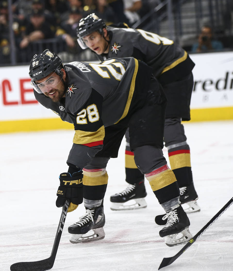 Golden Knights left wing William Carrier (28) looks on during the second period of Game 1 of an NHL hockey first-round playoff series against the Los Angeles Kings at T-Mobile Arena in Las Vegas o ...