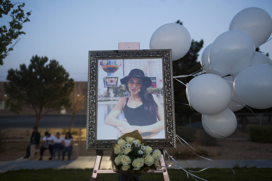 A portrait of Helena Lagos her vigil in Las Vegas, Friday, April 13, 2018. Lagos and five others were killed Monday night in a fiery crash of a small plane on a golf course in a Phoenix suburb sho ...