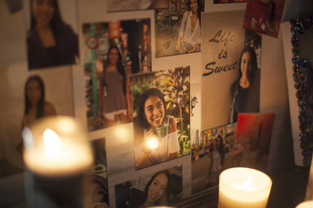 Photos of Helena Lagos at her vigil in Las Vegas, Friday, April 13, 2018. Lagos and five others were killed Monday night in a fiery crash of a small plane on a golf course in a Phoenix suburb shor ...