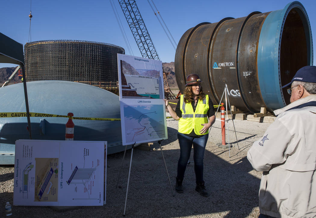 Erika Moonin, project manager for the Southern Nevada Water Authority, gives a presentation on the authority's low-lake-level pumping station, currently under construction at Lake Mead, while Las ...