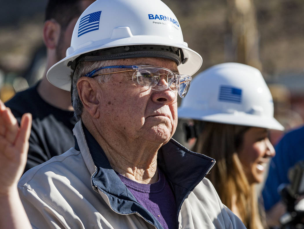 Las Vegas City Councilman Bob Coffin listens to a presentation about the Southern Nevada Water Authority's low-lake-level pumping station, currently under construction at Lake Mead, on Saturday, A ...