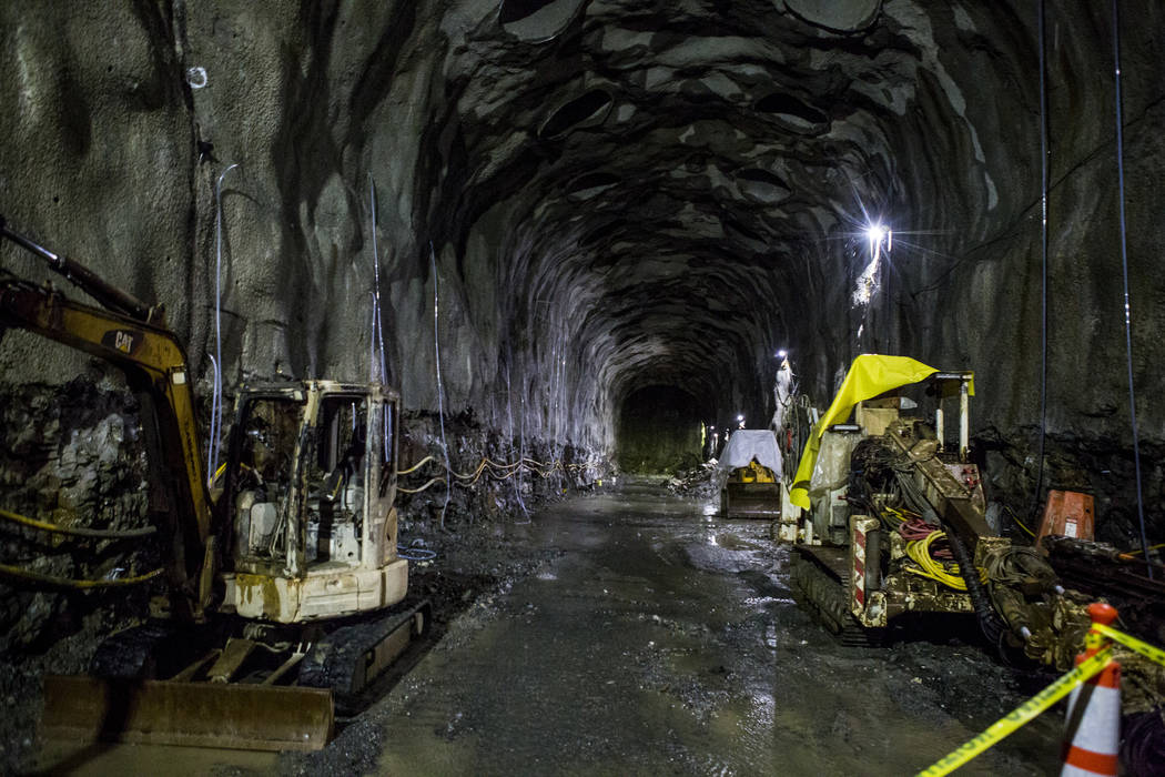 An underground connector tunnel, part of the Southern Nevada Water Authority's low-lake-level pumping station, currently under construction at Lake Mead, on Saturday, April 14, 2018. Patrick Con ...