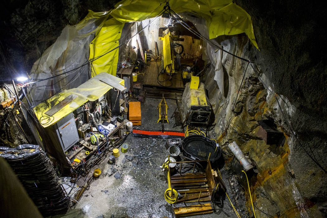 Construction equipment in an underground connector tunnel, part of the Southern Nevada Water Authority's low-lake-level pumping station, currently under construction at Lake Mead, on Saturday, Apr ...