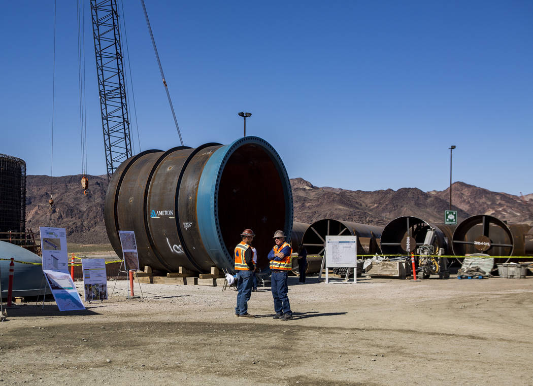 Construction workers at the Southern Nevada Water Authority's low-lake-level pumping station, currently under construction at Lake Mead, on Saturday, April 14, 2018. Patrick Connolly Las Vegas R ...