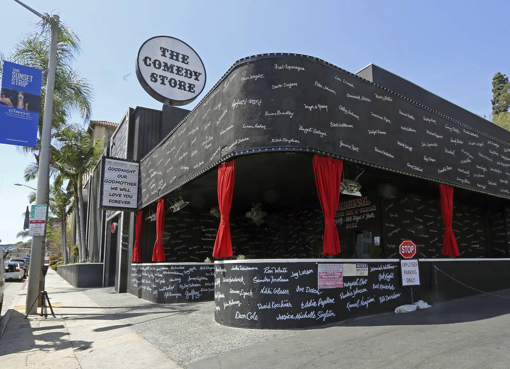 Comedy club, The Comedy Store, adorned with the names of hundreds of great comedians who have passed through its doors, honors founder Mitzi Shore on its marquee, Wednesday, April 11, 2018, in Wes ...