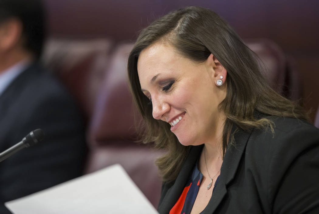 Sen. Nicole Cannizzaro, D-Las Vegas, reads through a copy of a proposed resolution during the Nevada Legislative session on Thursday, Feb. 9, 2017, in Carson City. (Benjamin Hager/Las Vegas Review ...