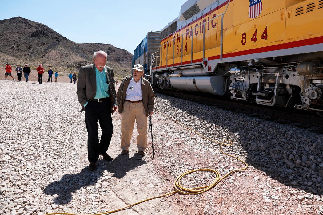 Jim Beneda, left, and Ed Waymire attend an event hosted by the Nevada State Railroad Museum in Boulder City on Friday, April 13, 2018. Andrea Cornejo Las Vegas Review-Journal @dreacornejo