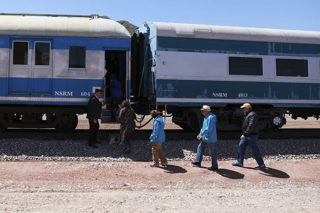 Attendees board the train during an event hosted by the Nevada State Railroad Museum in Boulder City on Friday, April 13, 2018. Andrea Cornejo Las Vegas Review-Journal @dreacornejo