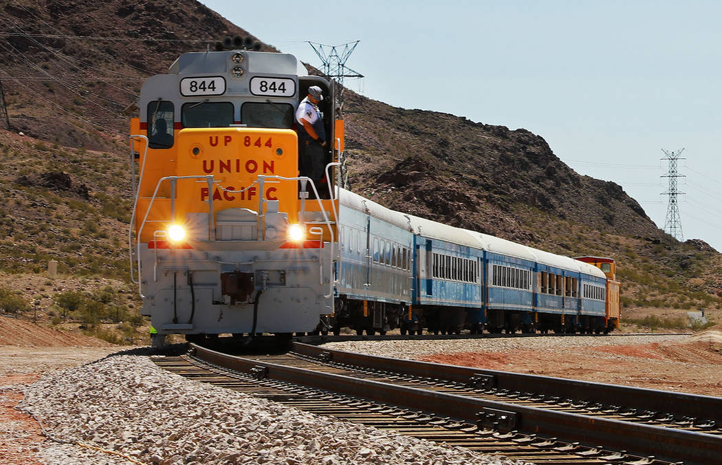 A train returns to pick up attendees from an event hosted by the Nevada State Railroad Museum in Boulder City on Friday, April 13, 2018. Andrea Cornejo Las Vegas Review-Journal @dreacornejo