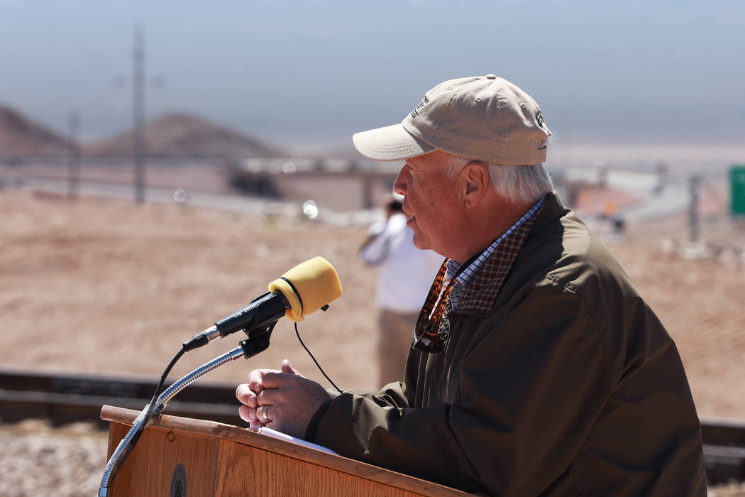 Peter Barton, administrator for the Nevada Division of Museums and History, addresses the crowd during an event hosted by the Nevada State Railroad Museum in Boulder City on Friday, April 13, 2018 ...