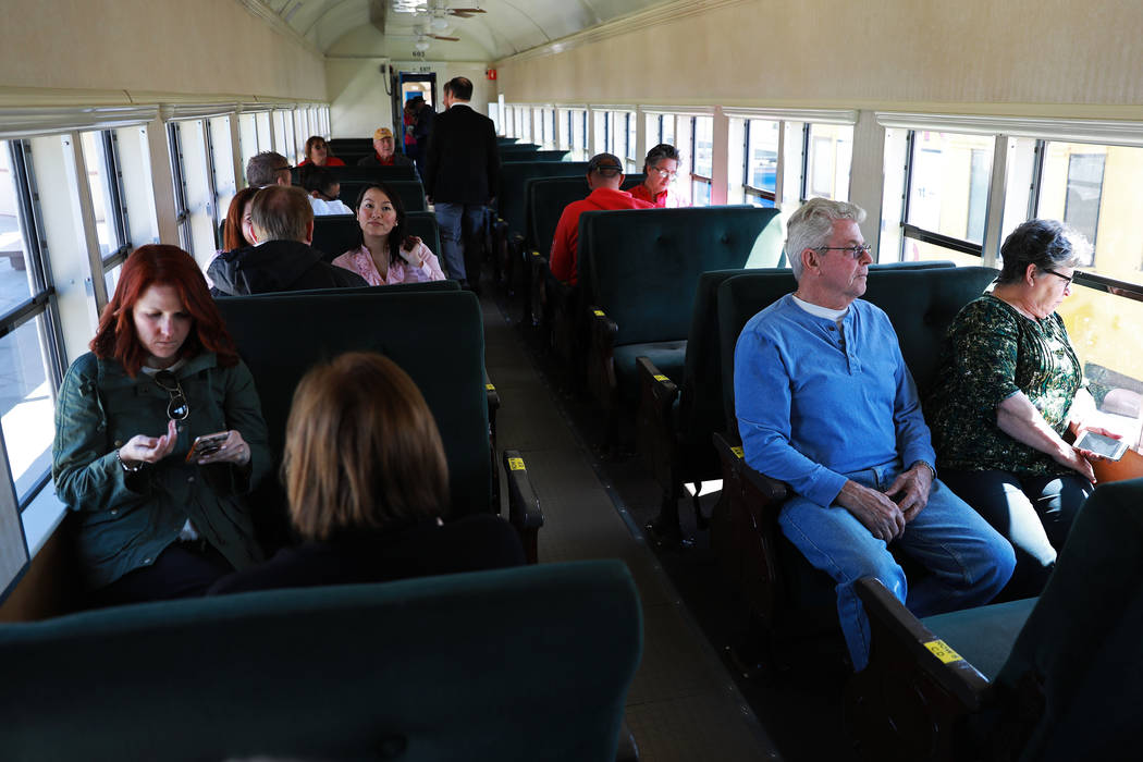Attendees board a train for an event hosted by the Nevada State Railroad Museum in Boulder City on Friday, April 13, 2018. Andrea Cornejo Las Vegas Review-Journal @dreacornejo