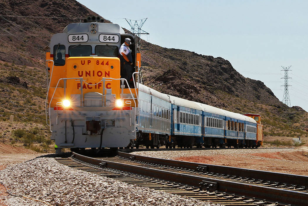 A train returns to pick up attendees from an event hosted by the Nevada State Railroad Museum in Boulder City, Nevada on Friday, April 13, 2018. Andrea Cornejo Las Vegas Review-Journal @dreacornejo