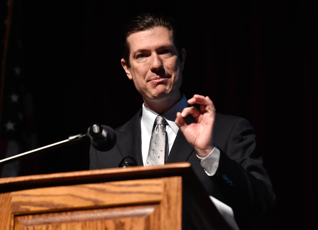 Mike Barton, chief academic officer speaks during the state of the schools presentation at Legacy High School Wednesday, March 21, 2018, in Las Vegas. (David Becker/Las Vegas Review-Journal) @davi ...