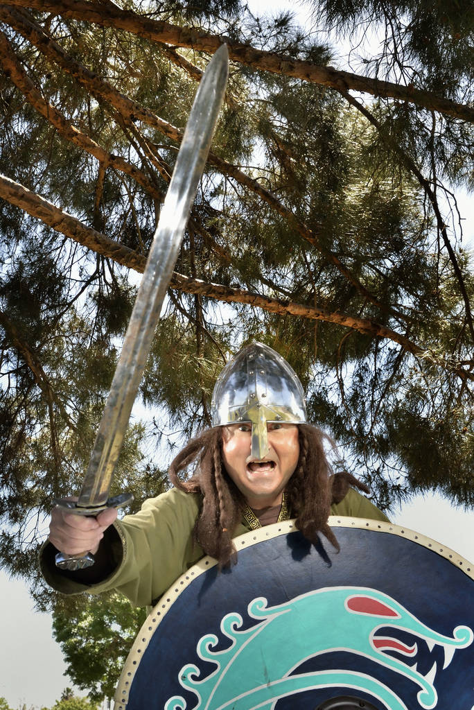 """Erik Pappa poses for a photo during a demonstration of """"How to Fight Like a Viking"""" sponsored by the Sons of Norway Vegas Vikings Lodge 6-152 at Lorenzi Park at 3343 W. Washington Av ..."""