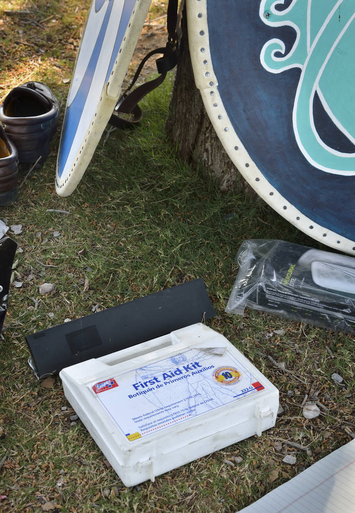 """A first aid kit is part of the gear on hand during a demonstration of """"How to Fight Like a Viking"""" sponsored by the Sons of Norway Vegas Vikings Lodge 6-152 at Lorenzi Park at 3343 W ..."""