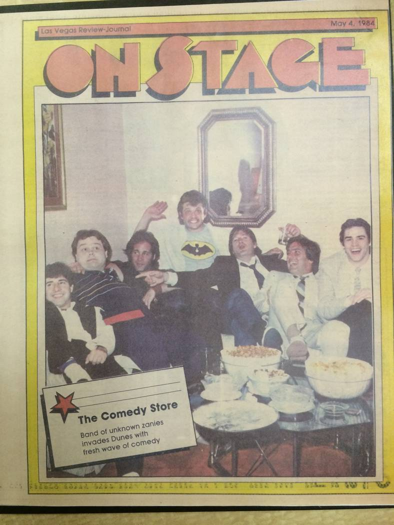 The May 4, 1984 issue of the Review-Journal's On Stage magazine. From left: Harry Basil, Louie Anderson, Dice Clay, Paul Rodriguez, Blake Clark, Argus Hamilton, and Paul Rodriguez are shown on the ...