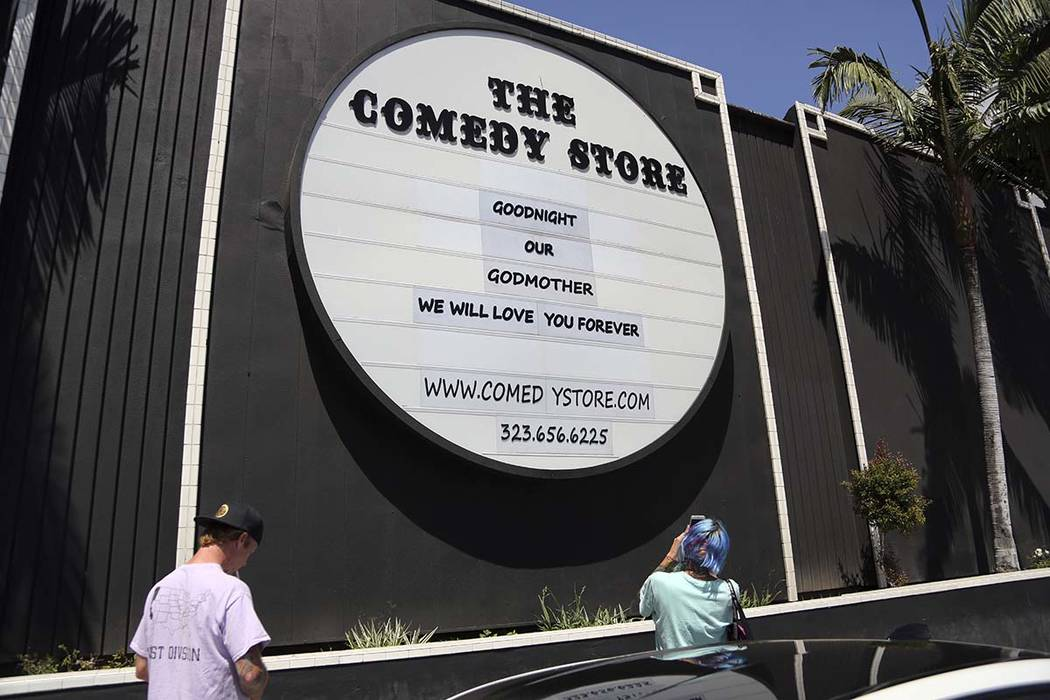 The Comedy Store in West Hollywood, Calif., adorned with the names of hundreds of great comedians who have passed through its doors, honored founder Mitzi Shore, Wednesday, April 11, 2018. Shore d ...