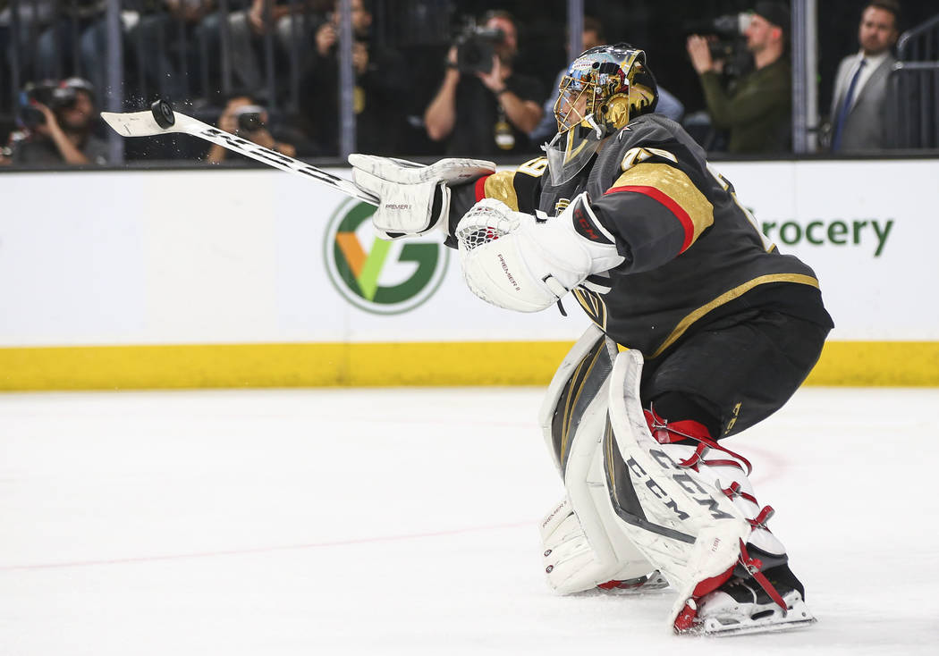 Golden Knights goaltender Marc-Andre Fleury (29) blocks a shot from the Los Angeles Kings during the second period of Game 1 of an NHL hockey first-round playoff series at T-Mobile Arena in Las Ve ...