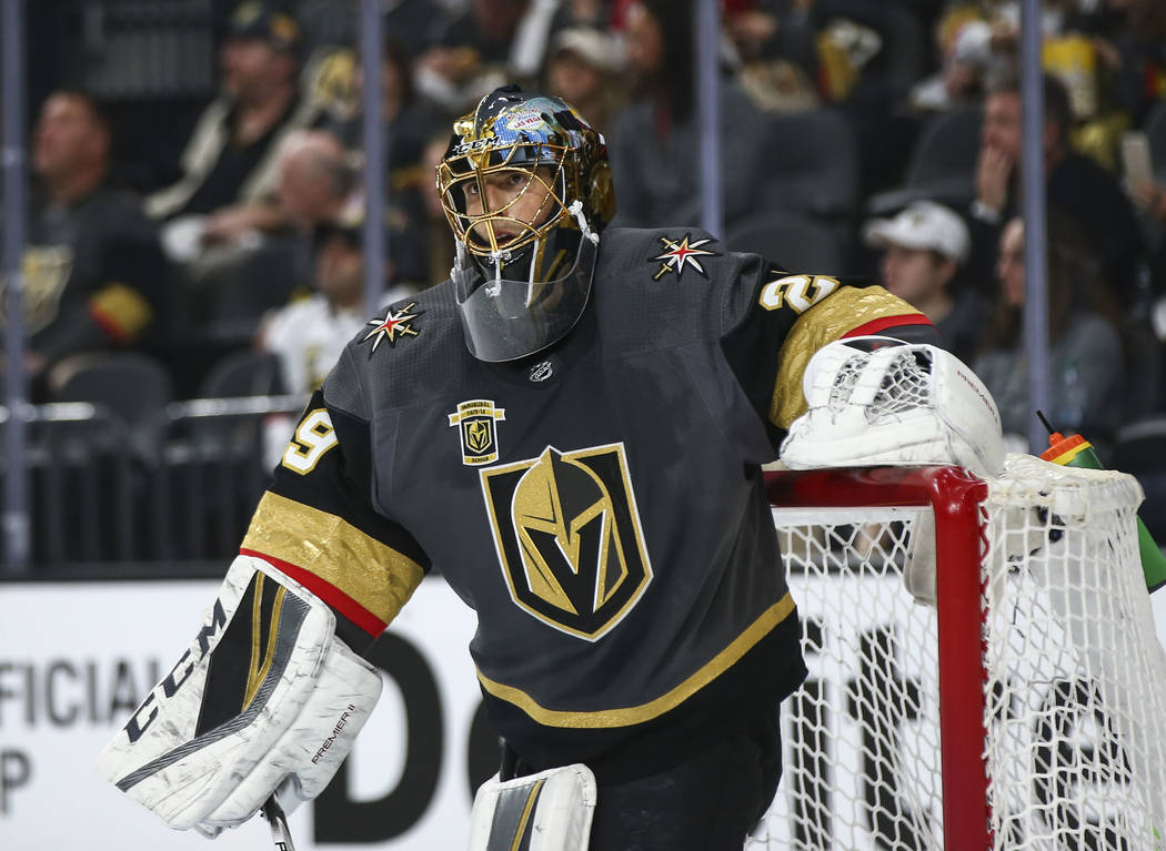 Golden Knights goaltender Marc-Andre Fleury (29) during the second period of Game 1 of an NHL hockey first-round playoff series against the Los Angeles Kings at T-Mobile Arena in Las Vegas on Wedn ...