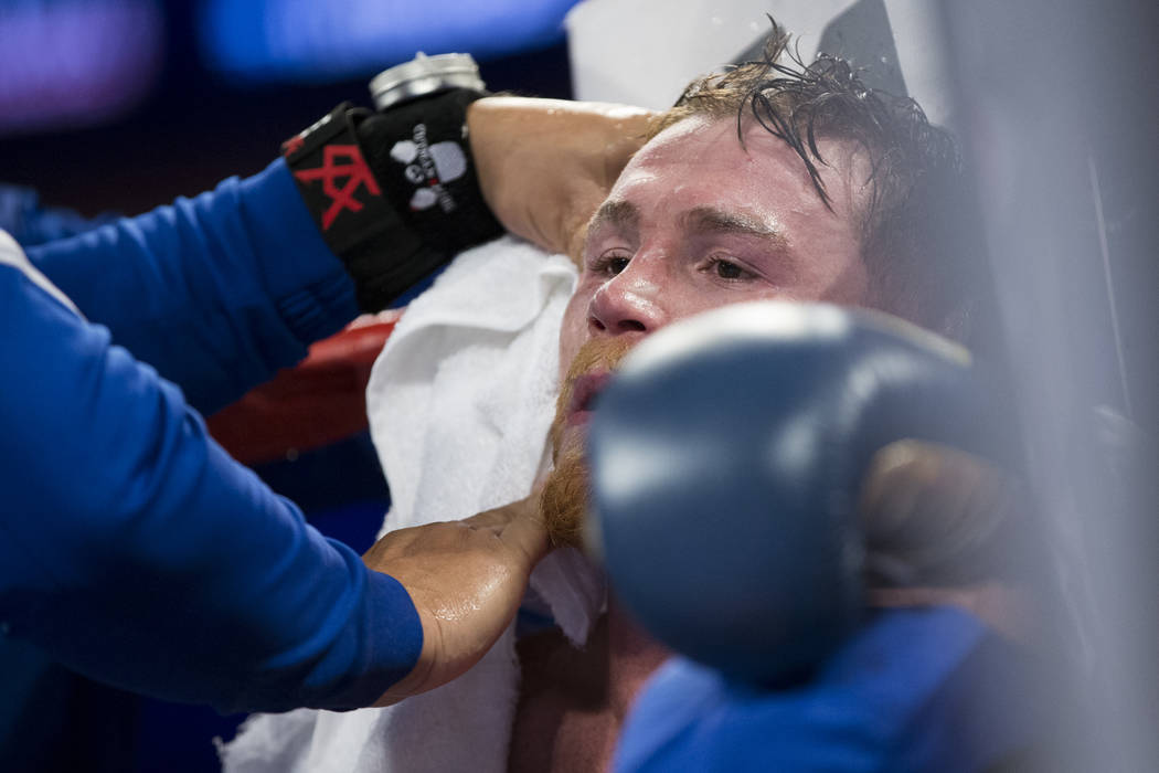 Saul Canelo Alvarez at his ring corner in between rounds of his fight against Gennady GGG Golovkin in the WBC, WBA, IBF, RING middleweight title bout at T-Mobile Arena in Las Vegas, Saturday, Sept ...
