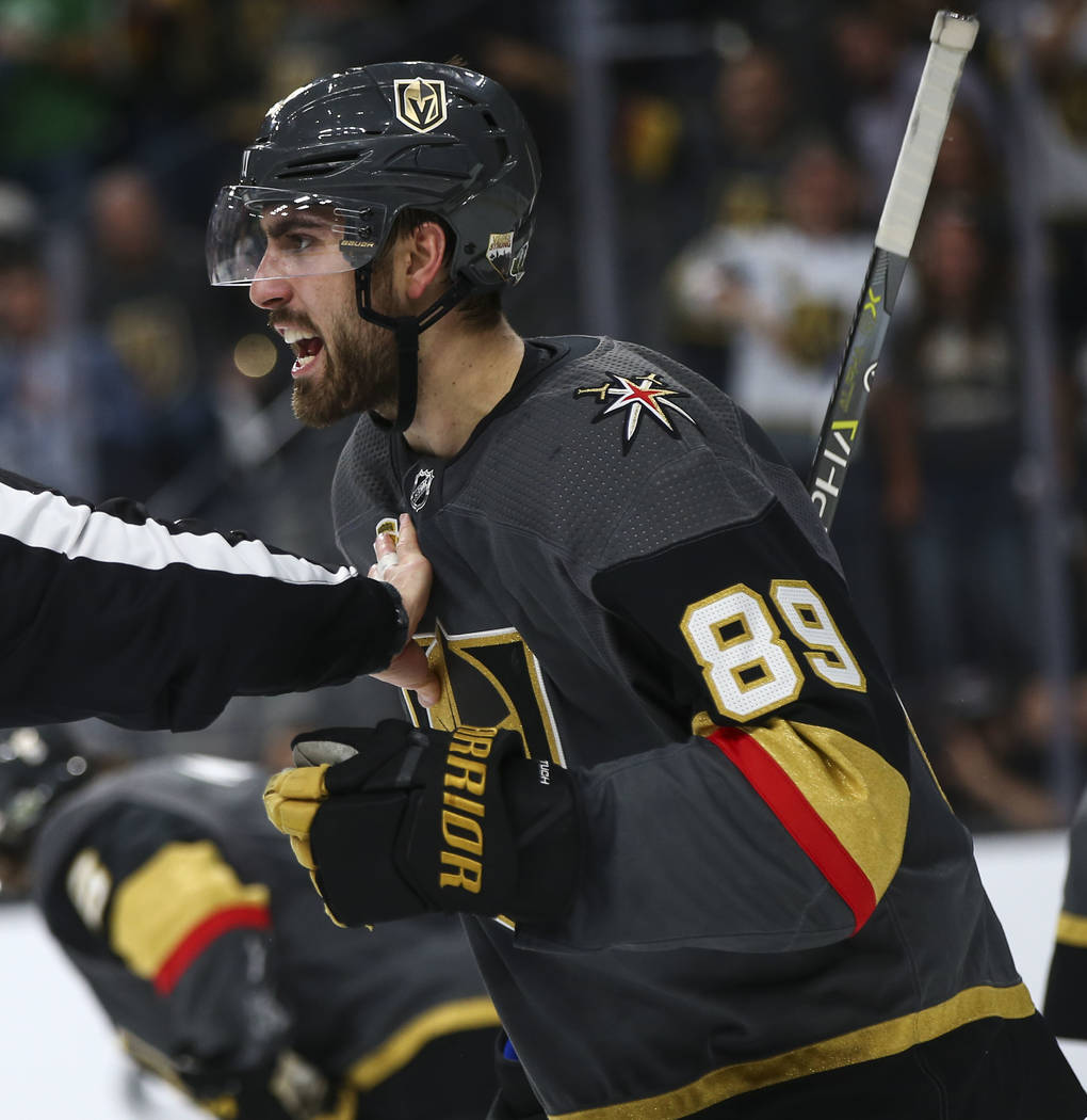 Golden Knights right wing Alex Tuch (89) shouts at a Los Angeles Kings player during the second period of Game 1 of an NHL hockey first-round playoff series at T-Mobile Arena in Las Vegas on Wedne ...