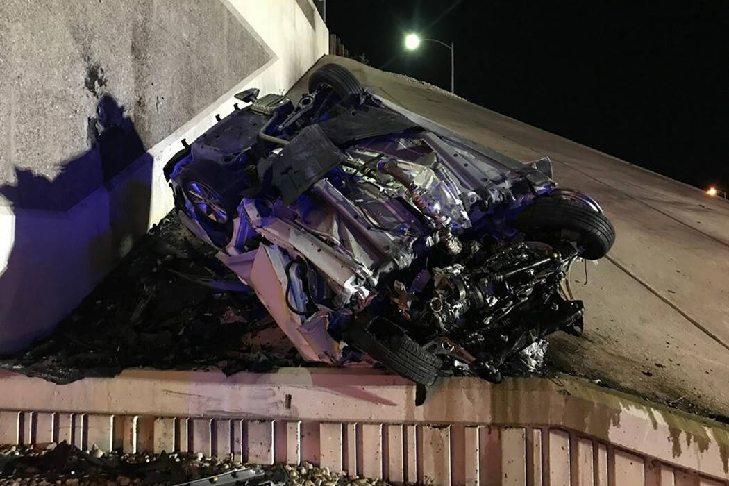 A man was killed when a vehicle rolled over in the westbound lanes of Summerlin Parkway near Buffalo Drive on Thursday, April 12, 2018, according to the Nevada Highway Patrol. Nevada Highway Patrol