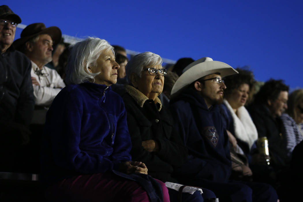 Attendees watch a bronc riding competition at the Clark County Fair & Rodeo in Logandale, Nevada on Thursday, April 12, 2018. Andrea Cornejo Las Vegas Review-Journal @dreacornejo