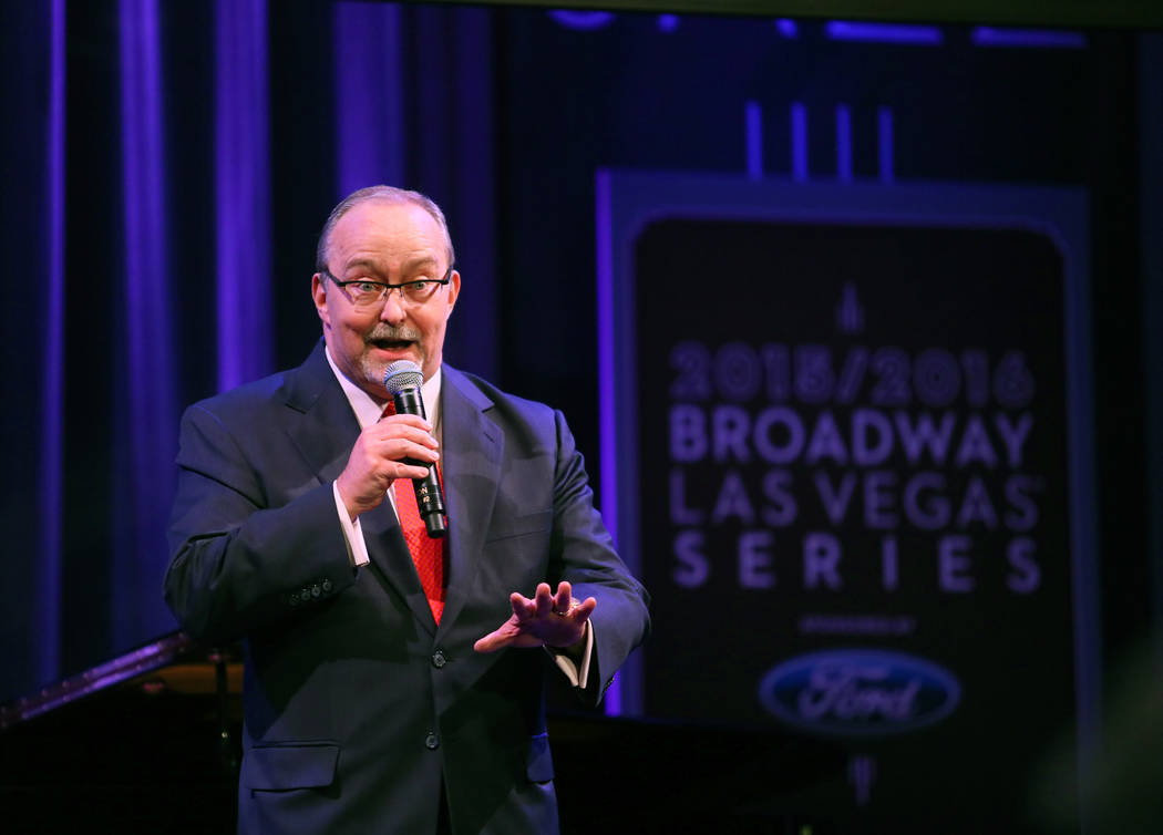 Myron Martin, The Smith Center president, speaks to the audience during a reveal of the The Smith Center's 2015-16 Broadway season lineup at The Smith Center Monday, Feb. 23, 2015, in Las Vegas. A ...