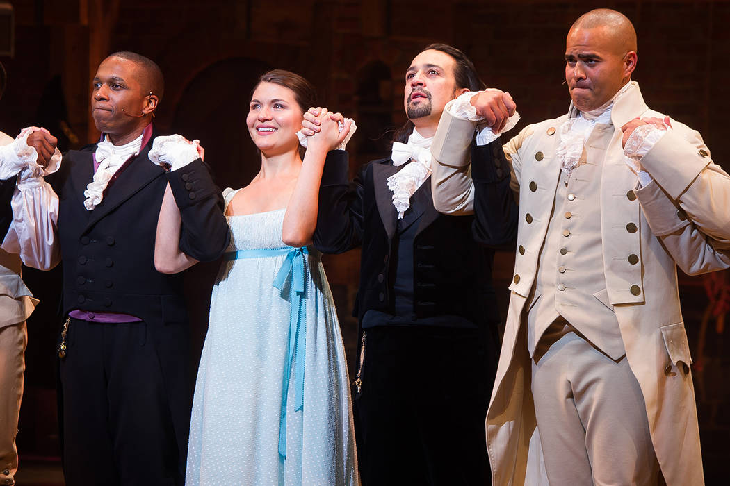 "Leslie Odom Jr., from left, Phillipa Soo, Lin-Manuel Miranda and Christopher Jackson appear at the curtain call following the opening night performance of ""Hamilton"" at the Richard Rodge ..."