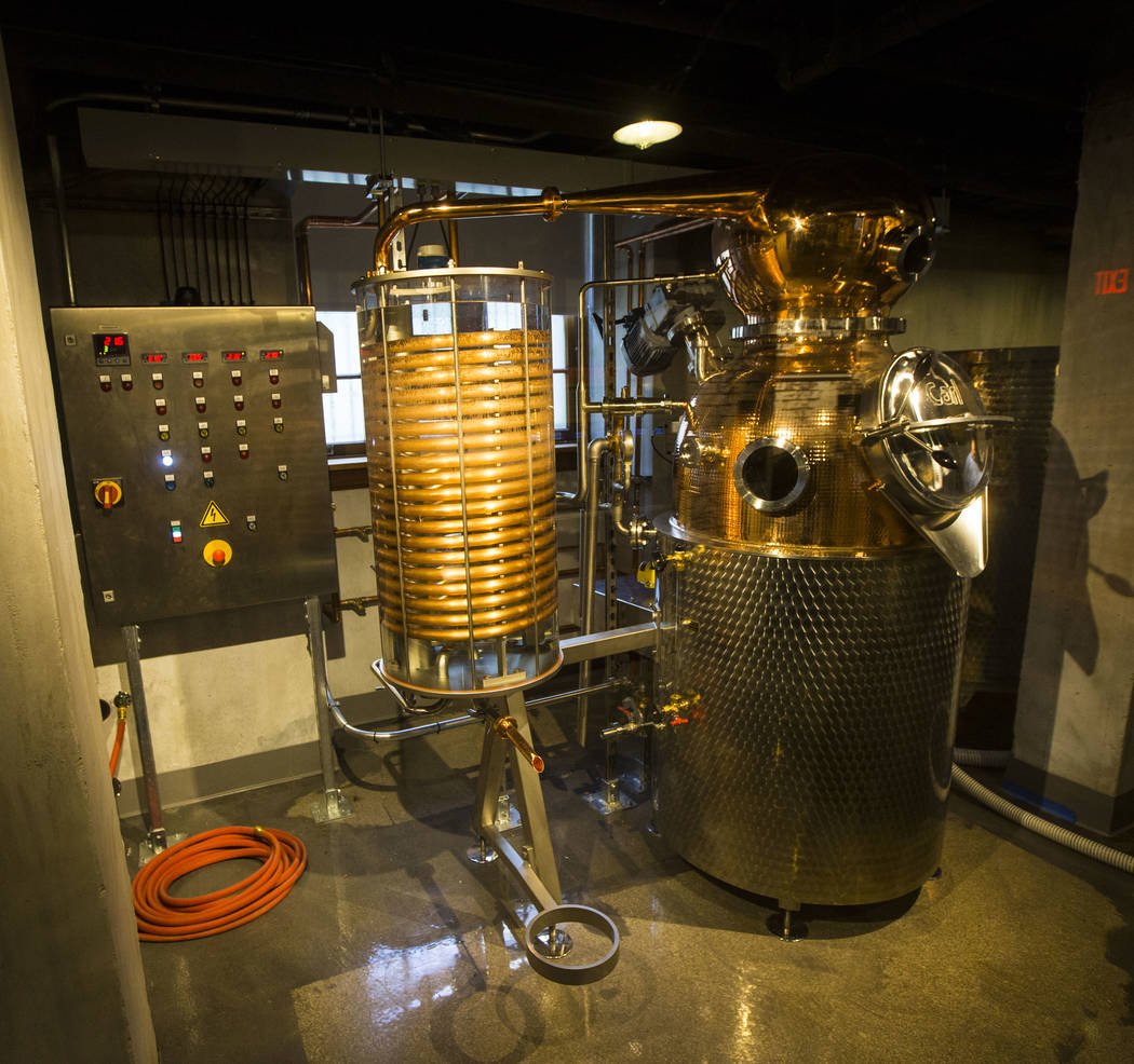 A working 60-gallon copper-pot still on display in the distillery area of The Underground at The Mob Museum in downtown Las Vegas on Saturday, April 14, 2018. The basement-level exhibition of the ...