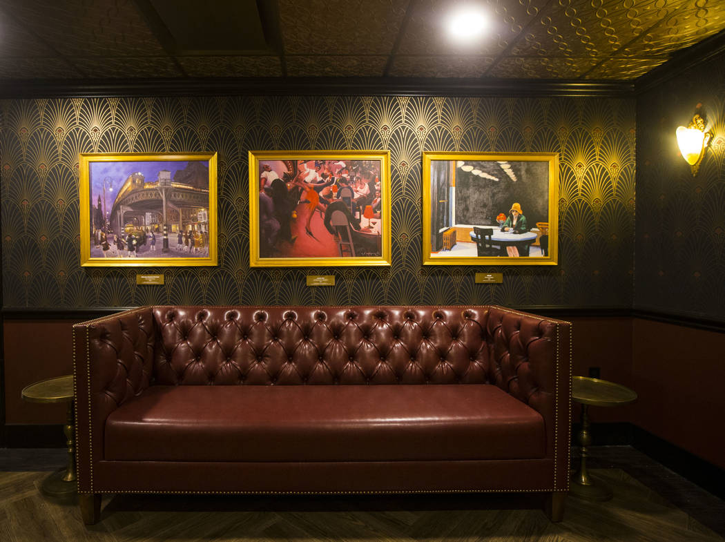 Prohibition-era paintings by artists such as Edward Hopper and John French Sloan on display in a hidden room at The Underground at The Mob Museum in downtown Las Vegas on Saturday, April 14, 2018. ...