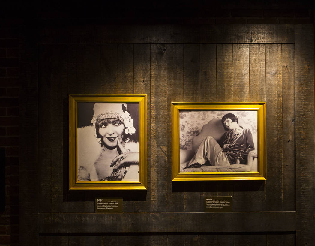Historic photos of actresses Clara Bow and Louise Brooks in the speakeasy at The Underground at The Mob Museum in downtown Las Vegas on Saturday, April 14, 2018. The basement-level exhibition of t ...