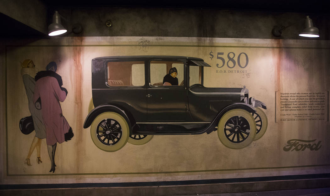 A Ford Model T advertisement on display at The Underground at The Mob Museum in downtown Las Vegas on Saturday, April 14, 2018. The basement-level exhibition of the Prohibition era features a work ...