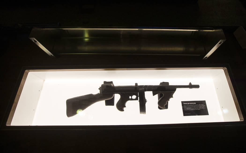 "The Thompson submachine gun, or ""Tommy gun,"" prop that was used by Sean Connery in the movie ""The Untouchables"" on display in the speakeasy at The Underground at The Mob Museum ..."