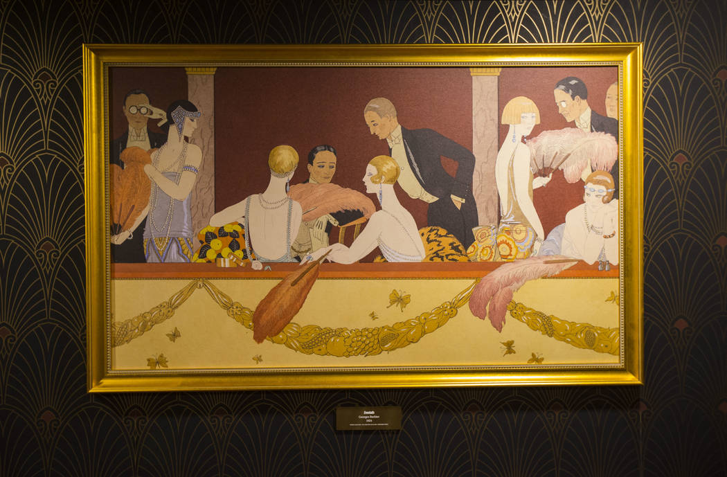 "A print of the painting ""Eventails"" by Georges Barbier is one of the Prohibition-era artworks on display in a hidden room at The Underground at The Mob Museum in downtown Las Vegas on Sa ..."
